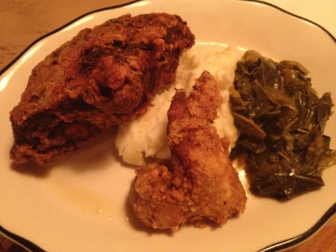 Fried chicken with collards